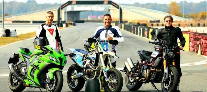 Trei motociclete diferite pe pista Academiei Titi Aur